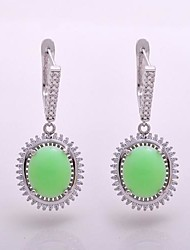 AS 925 Silver Jewelry  Green jade exquisite 12MM*10MM Oval Earrings