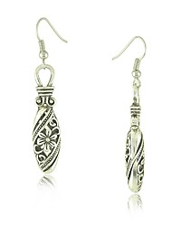 Tibetan Silver Hollow Out Carving Flower Drop Earrings