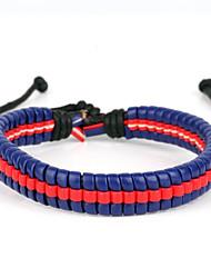 high fashion hommel harde middelste lijn lederen armband blauw en rood (1 stuk)