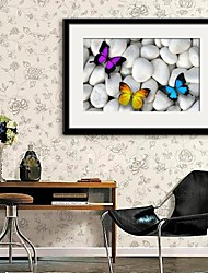 E-HOME® Framed Canvas Art, Butterfly on Rock Framed Canvas Print