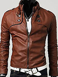 Men's Temperament Stand Collar Leather Clothing New Arrival