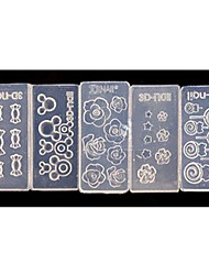 5 estilo molde arte flores acrílicas 3d uñas decoración bricolaje moda