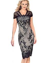 Women's Patchwork Black Dress , Vintage/Bodycon/Lace V Neck Sleeveless