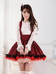 Saia Doce Princesa Cosplay Vestidos Lolita Vermelho Estampado Lolita Comprimento Médio Saia Para Feminino Poliéster