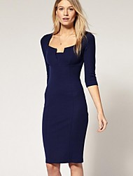 Women's Vintage Sheath Dress,Solid Asymmetrical Knee-length ½ Length Sleeve Blue / Black Polyester Spring / Fall