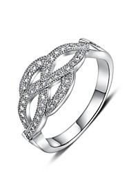 européen platine quatre pétale de fleur des femmes diamanted bagues en argent du compte de cuivre (1 pc)
