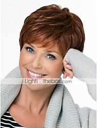 жен. Человеческие волосы без парики Темно-коричневый Короткий Стрижка под мальчика Стрижка каскад С чёлкой Боковая часть