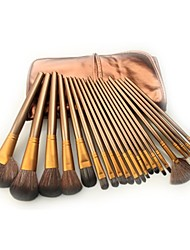 Pro High Quality 21 Pcs Brown Color Nylon Hair Makeup Brush Set With Brown Pouch CB2102