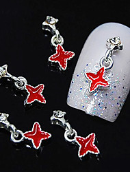 10pcs rouge passage pendentif 3d strass bricolage accessoires Conseils alliage d'ongle décoration d'art