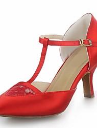 Non Customizable Women's Dance Shoes Modern Satin Cuban Heel Black/Red/Silver