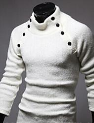 Warm Men's High-Neck Sweaters , Cotton Blend Long Sleeve Casual Flower Winter