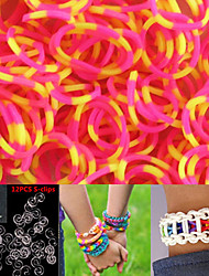 600PCS Rose&Yellow 8-Segment DIY Twistz Silicone Rubber Bands for Rainbow Loom Bracelets with S-clips