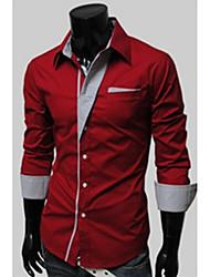 Camisas Casuales ( Algodón Compuesto )- Casual Redondo/Cuello de camisa Manga Larga para Hombre
