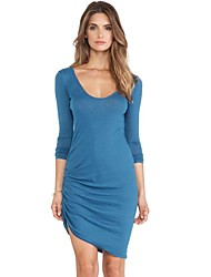 Women's Party/Cocktail Sexy Bodycon Dress,Solid Boat Neck / Deep U Asymmetrical Long Sleeve Blue / Pink / Black / Green PolyesterSpring /