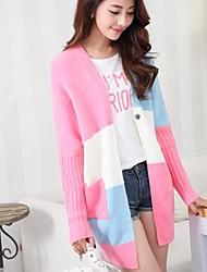 Frauen Kontrastfarbe Strickjacke Pullover