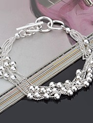 Fashion Sterling Beading Silver Women's Bracelet Christmas Gifts