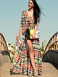 Платье - Макси - Шифон/Полиэстер - Кружева/Макси