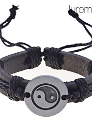 Lureme Chinese Tai JiCharm Leather Braided Bracelet Jewelry Christmas Gifts