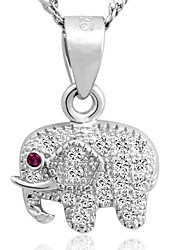 925 Men's Silver Elephant Pendant With Cubic Zirconia