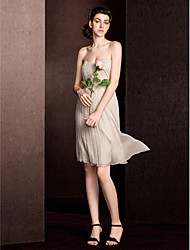 Knee-length Silk Bridesmaid Dress - Champagne Plus Sizes Sheath/Column Sweetheart