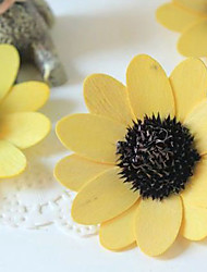 Qihang Yellow Sun Flowers Veneer Dried Flowers Photography Props(1 PCS)