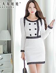 Women's White Dress , Casual/Cute Long Sleeve