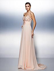 Prom/Formal Evening Dress A-line Strapless Sweep/Brush Train Chiffon