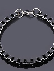 U7® Men's Cool Black Box Chain Aluminum Alloy Bracelet 6MM 21CM With 316 Stamp Fashion Jewelry