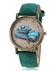 patrón de coches de época de las mujeres del dial del cuarzo de la venda de la PU (colores surtidos)