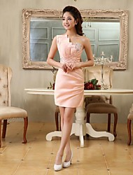 Homecoming Cocktail Party Dress - Pearl Pink Plus Sizes Sheath/Column One Shoulder Short/Mini Satin