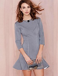 Women's Patchwork 3/4 Sleeve Flouncing Dress