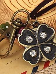 couro vintage unisex sorte em forma de flor rodada discagem&liga de quartzo colar / relógio chaveiro patina verde (1pc)