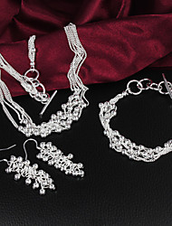 Uyuan Women's Fashion 925Silver Suit(Necklace+Earrings+Ring)