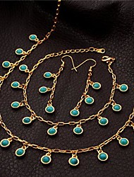 U7®  Charm Necklace Bracelet Drop Earrings 18K Real Gold Plated Turquoise Stone Jewelry Set