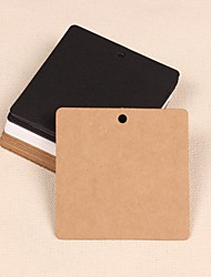 Square Kraft Paper Hang Tags Lables for Bookmark Gift Bakery Favors Wedding Party Price Cards Set of 50(More Colors)