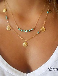 Eruner® Multi-layer wafer and turquoise pendant necklace