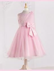 Flower Girl Dress - A-line Longueur mollet Sans manches Tulle/Satin mat/Polyester