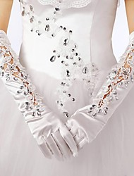 Elbow Length Glove Elastic Satin Bridal Gloves Spring / Fall / Winter