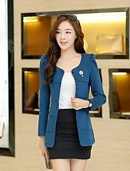 Manteau Aux femmes,Couleur Pleine Manches Longues Bleu / Rose / Jaune Polyester Moyen Automne / Hiver