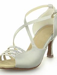 Non Customizable Women's Dance Shoes Latin Satin/Sparkling Glitter Flared Heel Silver/Gold