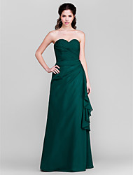 Floor-length Chiffon Bridesmaid Dress - Ink Blue Sheath/Column Sweetheart