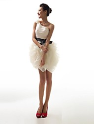 Ball Gown One Shoulder Short / Mini Organza Evening Dress