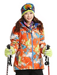 Women's Fashional Thermal Thick Waterproof  Orange Skiing Jackets