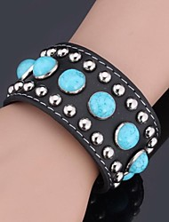 Instyle Men's Women's New Big Cool Punk Wrape Bangle Bracelet Genuine Leather Turquoise High Quality Adjustable