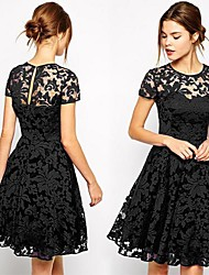 Women's Dresses , Cotton Blend Sexy/Bodycon/Lace/Cute/Party Short Sleeve VICONE