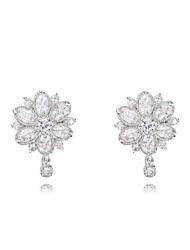cadeaux roxi classiques véritables cristaux autrichiens mode zircon blanc fleurs boucles d'oreille des femmes (1 paire)
