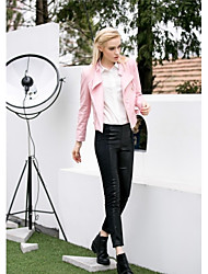 Leather Jacket Women's Long Sleeve Standing Collar PU Jacket