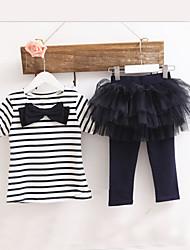 Mädchen T-Shirt / Rock / Kleidungs Set Gestreift Baumwolle / Netz Sommer Blau / Rot / Gelb