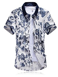 Men's Lapel China Wind Short Sleeved Flowered Shirts