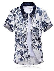 Men's Lapel China Wind Short Sleeved Flowered Shirts